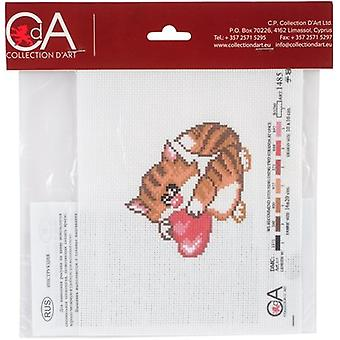 Collection D'Art Stamped Cross Stitch Kit 20X22cm-Meow CDPA1485