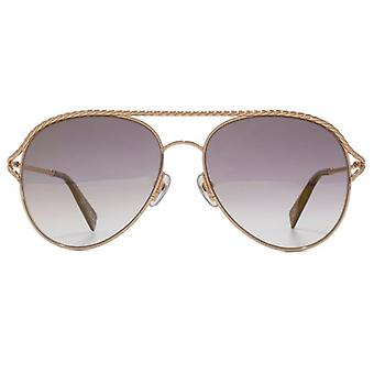 Marc Jacobs Metal Twist Pilot Sunglasses In Antique Gold Green