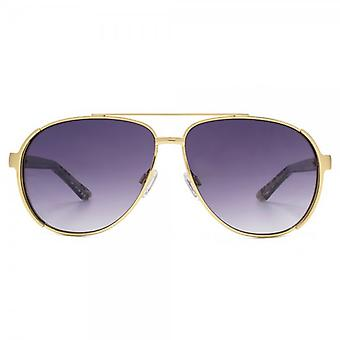 Kurt Geiger Emily Pilot Sunglasses In Matte Gold & Lace Print