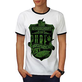 Pure Weed Leaf Fashion Men White / BlackRinger T-shirt | Wellcoda