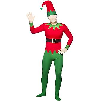 Christmas Elf Skinz -One Piece Stretch Bodysuit With Hat Fancy Dress Costume