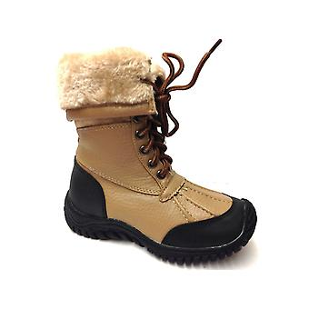 Infant Girls Fur Collar Lace Up Winter Snow Mid Calf Ankle Boots Shoes