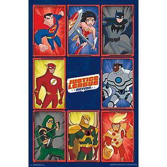 Justice League Action - Grid Poster Print