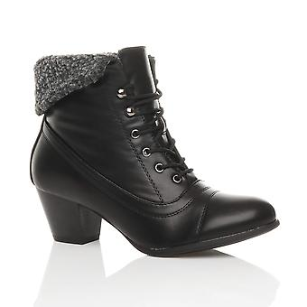 Ajvani womens mid heel lace up vintage fur cuff winter pixie ankle boots