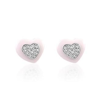 Hjärtan i keramiska vitt, Silver Örhängen och kristaller av Cubic Zirconia