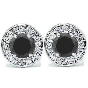 5 / 8ct Black & diamant rond Halo goujons 14K or blanc 1/3