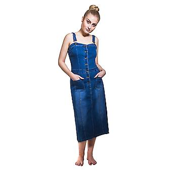 Button front fitted Denim Dress Jean Dress with adjustable straps