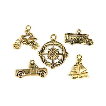 Packet 5 x Antique Gold Tibetan 20-30mm Travel Charm/Pendant Set ZX17480