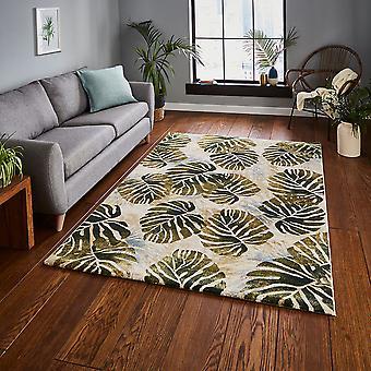 Tropics 6097 Cream Green  Rectangle Rugs Funky Rugs