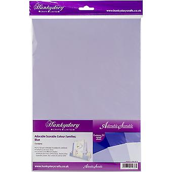 Hunkydory Adorable Scorable A4 Cardstock 24/Pkg-Blue Tones AS174