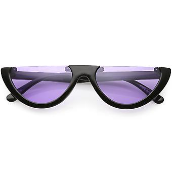 Extreme Semi Rimless Cat Eye Sunglasses Color Tinted Neutral Colored Lens 55mm