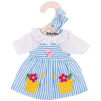 Bigjigs Toys Blue Striped Rag Doll Dress (28cm) Clothing Outfit