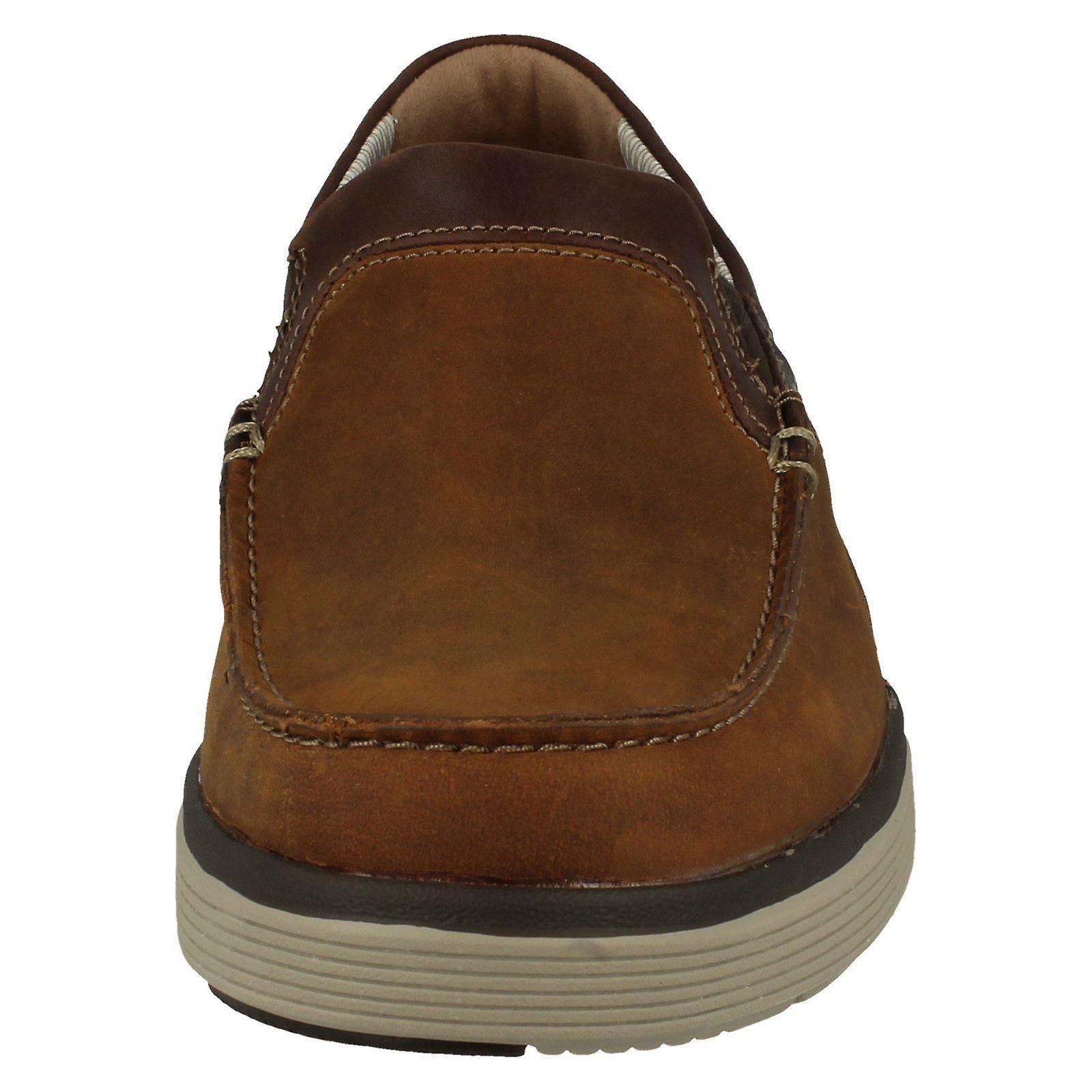 Mens Clarks Casual Slip On Shoes Un Abode Free - Light Tan Leather - UK Size 10G - EU Size 445 - US Size 11M