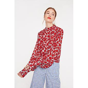 Ghospell Ghospell Floral Top With High Neck