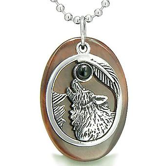 Amulet Courage Howling Wolf Moon Lucky Charm in Red Tiger Eye Black Onyx Gemstones Pendant Necklace