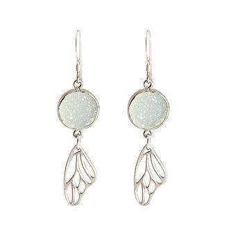 Gemshine - dames - oorbellen - vlinder - vleugels - WINGS - van 925 zilver - DRUZY - wit - quartz - 5 cm