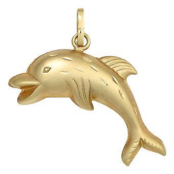 Dzieci wisząca Delfin Dolphin 333 złoty żółty złoto matowe częściowo Biżuteria dla dzieci