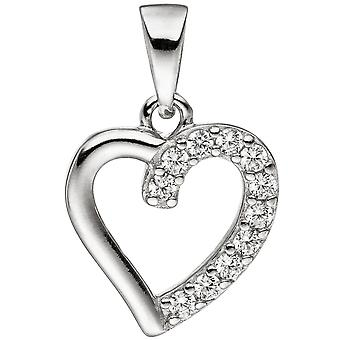 Pendant heart 925 sterling silver with cubic zirconia heart pendant silver heart