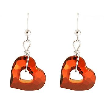 Ladies earrings 925 Silver heart open heart red MADE WITH SWAROVSKI ELEMENTS® 3,5 cm