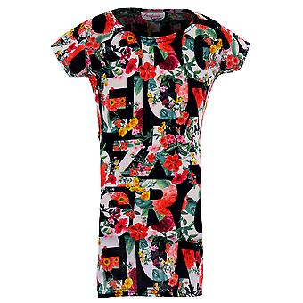 Kinder Cap Sleeve multicolor Floral Alphabet Buchstaben Girls feiern Bodycon Kleid
