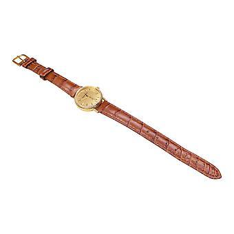 Goldene Memento-Uhr mit Lederarmband