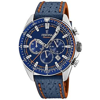 Festina Mens Chronograph Blue Dial Blue Leather Strap F20377/2 Watch