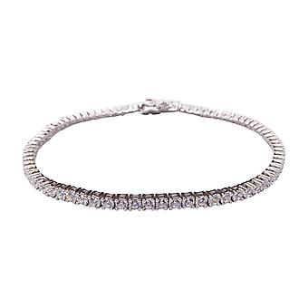 Silver bracelet with cubic zirconia