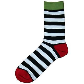 Bassin and Brown Hooded Striped Contrasting Heel and Toe Socks - Black/White