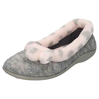 Four Seasons Pink Slip On Pom Pom Slipper Ballerina House Shoe