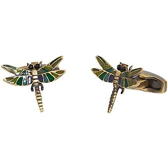 Simon Carter English Country Garden Dragonfly Cufflinks - Purple/Green/Gold