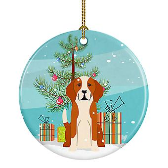 Merry Christmas Tree English Foxhound Ceramic Ornament