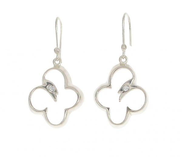 Cavendish French Sterling Silver Open Butterfly Drop Earrings set with single Cz