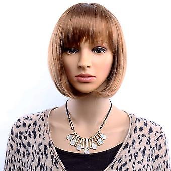 TRIXES Brown/ Auburn Bob Wig-  Mesh Netting – Natural Looking Synthetic Hair