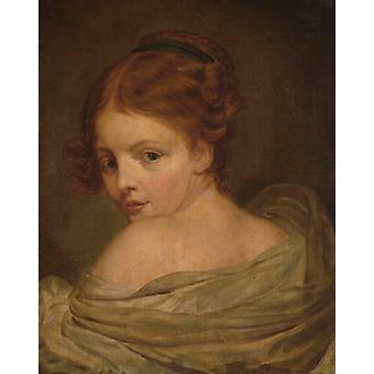 Young Woman Seen from the Back, Jean Baptiste Greuze, 50x40cm