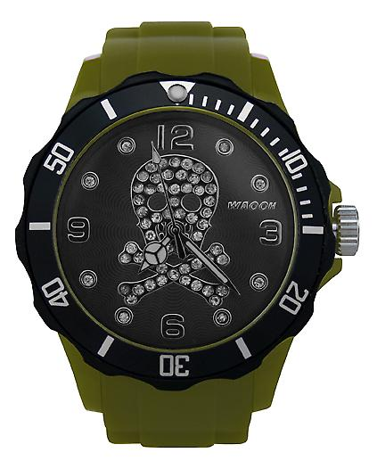 Waooh - Death Watch with 39 Rhinestones Head Dial & Bezel Black
