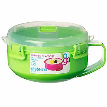 Sistema Klip It Microwave Porridge To Go, 850ml, Lime Green