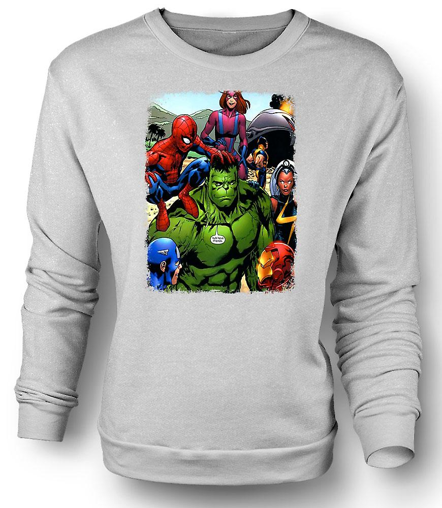 Mens Sweatshirt Hulk Spiderman Iron Man