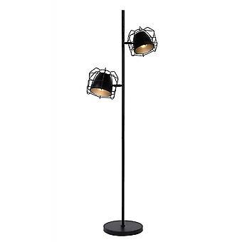 Lucide grade moderno em forma de canto Metal preto e prata lâmpada de assoalho