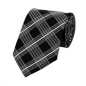 Cravate laine, cravate cravate gris 8cm noir et blanc quadrillé Fabio Farini