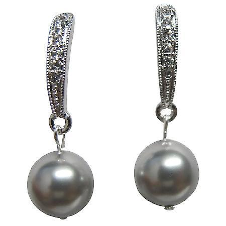 Wedding Earrings Grey Pearl with Diamante Dangling
