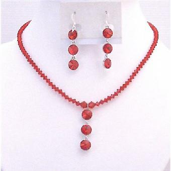 Exquisite Passion Lite Siam Red Swarovski Crystal Pendant Necklace Set