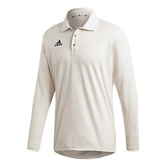 Adidas Long Sleeve Mens Cricket weißen Shirt Top Trikot White
