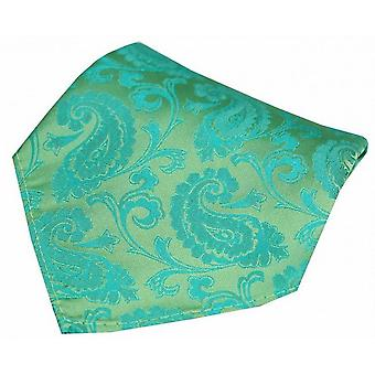 David Van Hagen Paisley Woven Silk Pocket Square - Jade Green