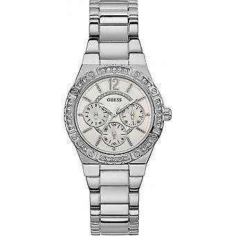 Guess W0845L1 watch - shows steel crystals date woman