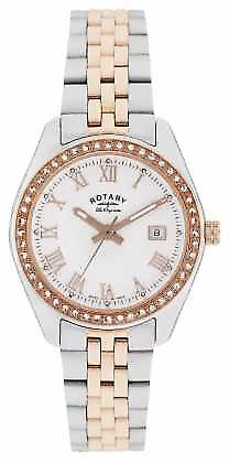 Rotary Womens Lausanne, Two Tone, Rose Gold, Crystal LB90111/01 Watch