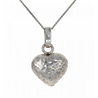 "Cavendish French Silver Beaten Heart Pendant with 16 - 18"" Silver Chain"