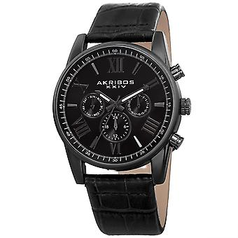 Akribos XXIV Men's Multifunction Genuine Leather Strap Watch AK911BK