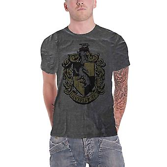 Harry Potter camiseta Hufflepuff House Crest tingido oficial Mens Dark Heather