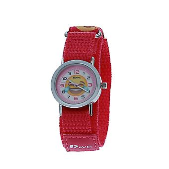 Ravel Girls Pink Emoji Face Fabric Easy Fasten Strap Watch R1507.58