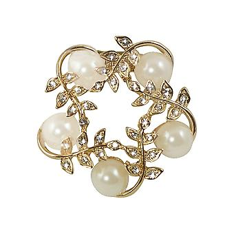 Eternal Collection Stella Pearl And Clear Crystal Scarf Clip